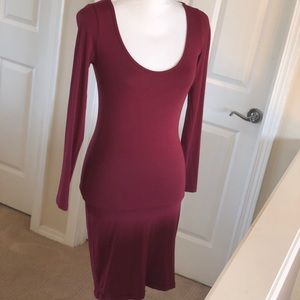 ASOS long-sleeved wine colored dress - Size 8
